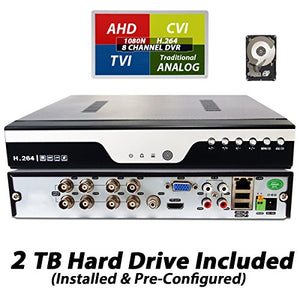 Evertech 8 Channel Real-time Cloud Option H.264 HD TVI AHD CVI Analog HDMI DVR High-Definition with 2TB Hard Drive