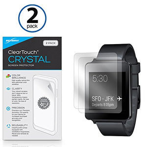 LG G Watch W100 Screen Protector, BoxWave [ClearTouch Crystal (2-Pack)] HD Film Skin - Shields from Scratches for LG G Watch W100