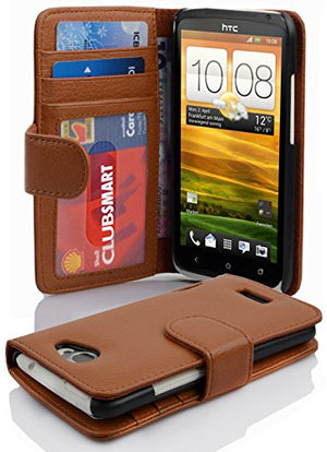 Cadorabo Book Case Works with HTC ONE X/X+ in Cognac Brown - with Magnetic Closure and 3 Card Slots - Wallet Etui Cover Pouch PU Leather Flip