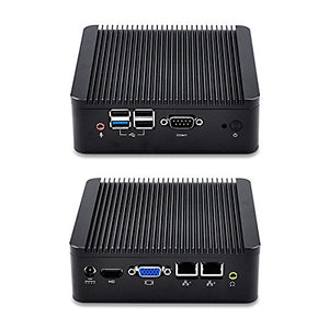 Thin Mini PC with Intel Celeron j1900 Processor onboard, Quad core 2.42 GHz, 4GB RAM 64GB SSD, Dual LAN Dual Display Serial Port