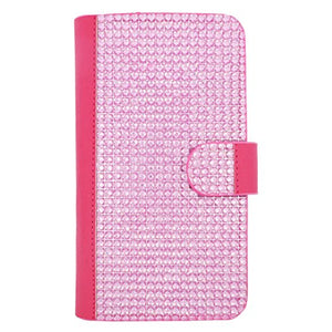 EagleCell Universal 6.0 inch Large Flip Wallet Diamond Protective Case Cover for Apple Samsung ZTE Nokia Sony LG BLU Phones, Hot Pink