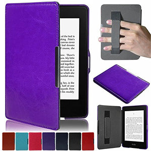 Artyond Kindle Paperwhite Case, Crazy Horse Pattern PU Leather Case [Hand Strap Holder] Smart Magnetic Soft Case For Amazon Kindle Paperwhite 1 2 3(Fits All 2012, 2013, 2015 and 2016 Versions (purple)