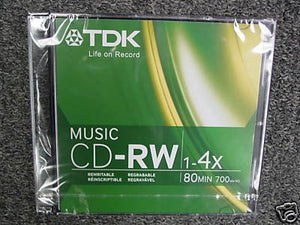 TDK Music 1X-4X 80-Min Digital-Audio CD-RW 5-Pak in Ultra-Slim Jewel Cases