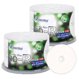 Smartbuy 100-disc 25gb 6X Bd-r BDR Blu-ray Single Layer White Inkjet Hub Printable Blank Data Recordable Media Disc with Cakebox/Spindle Packing