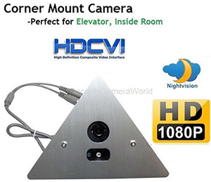 1920 x 1080 HD CVI Corner Mount Security Camera 2.8mm Wide Angle Lens, Array LED, Prefect for Elevator, Inside Room.-Must BE Used with A CVI Capable DVR!