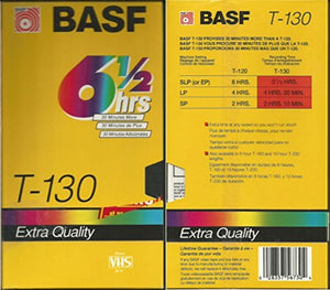 BASF T-130 6 1/2 Hour Extra Quality Blank VHS Tape (Video Cassette Recording Tape) 4-Pack