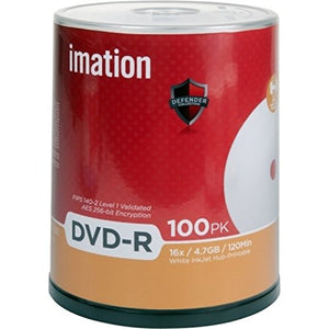 Imation DVD-R 29911 4.7GB 16X White InkJet Hub Printable 100/pk Cake Box