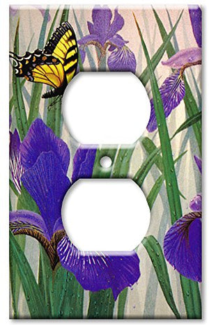 Outlet Cover Wall Plate - Butterfly in Irises