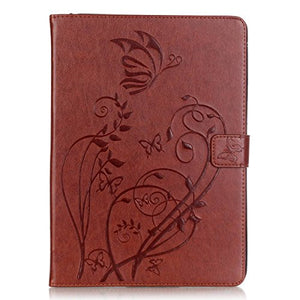 iPad Air Case,PHEZEN Vintage Emboss Flower Butterfly PU Leather Stand Folio Flip Case Book Cover with [Card Slots Magnetic] Full Body Protective Case Cover for iPad Air / iPad 5th Generation ,Brown