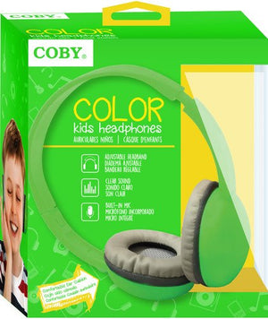 Coby CV-H821GRN Color Kids Headphone w/Mic CVH821 Green