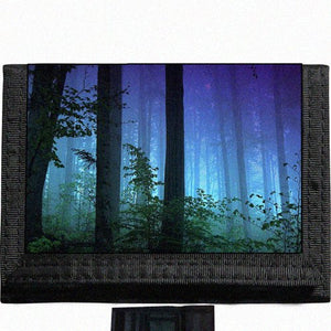 Scenic Forest Nature Black TriFold Nylon Wallet Great Gift Idea