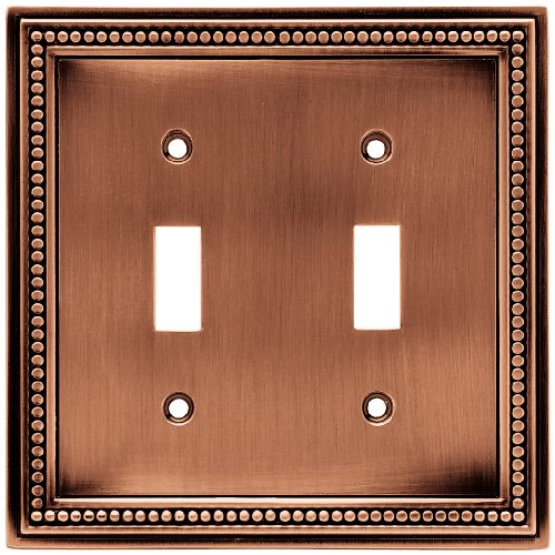 Brainerd 64243 Beaded Double Toggle Switch Wall Plate / Switch Plate / Cover, Aged Brushed Copper