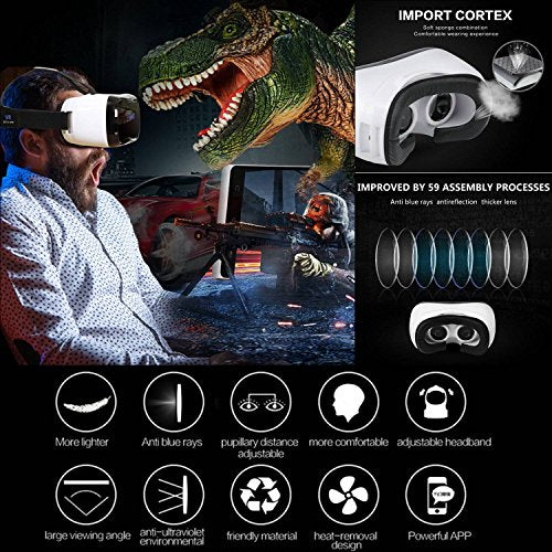 TSANGLIGHT 3D VR Headset All in One, 360 Viewing Android 5.1 Virtual Reality Headset 5? 1920x1080 HD Screen VR Glasses - 2GB RAM, BT 4.0, Support WiFi/HDMI/Apps (Phone No Needed, Great Gift)