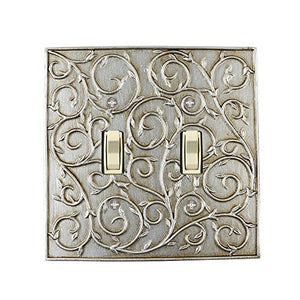 Meriville French Scroll 2 Toggle Wallplate, Double Switch Electrical Cover Plate, Aged Silver