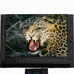 Leopard Big Cat Black TriFold Nylon Wallet Great Gift Idea