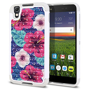 FINCIBO Case Compatible with Alcatel Idol 4 DALK4004 Blackberry DTEK50 Nitro 4 5.2 inch, Dual Layer Shock Proof Hybrid Protector Case Cover TPU Sparkle Rhinestone For Alcatel Idol 4 - Hibiscus Flowers