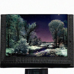 Snow Scenic Nature Lake Moonlight Black TriFold Nylon Wallet Great Gift Idea