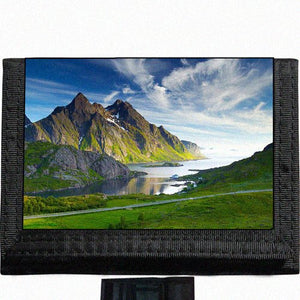 Scenic Mountains Lake Nature Black TriFold Nylon Wallet Great Gift Idea