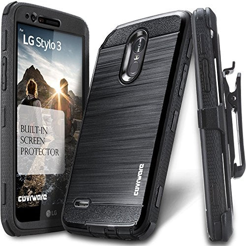 LG Stylo 3 / Stylo 3 Plus Case, COVRWARE [Iron Tank] Built-in [Screen Protector] Heavy Duty Full-Body Rugged Holster Armor [Brushed Metal Texture] Case [Belt Clip][Kickstand] for LS777, Black