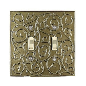 Meriville French Scroll 2 Toggle Wallplate, Double Switch Electrical Cover Plate, Aged Gold