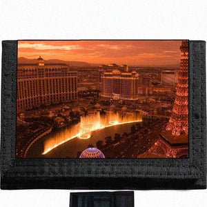 Las Vegas Skyline Black TriFold Nylon Wallet Great Gift Idea