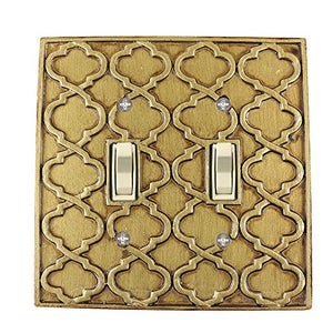 Meriville Moroccan 2 Toggle Wallplate, Double Switch Electrical Cover Plate, Antique Gold