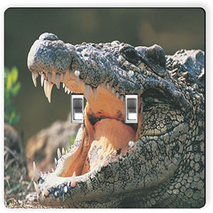 Rikki Knight 1140 Double Toggle Alligator In The Wild Design Light Switch Plate