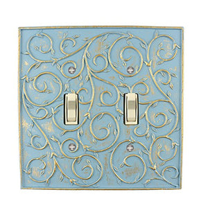 Meriville French Scroll 2 Toggle Wallplate, Double Switch Electrical Cover Plate, Cameo Blue with Gold