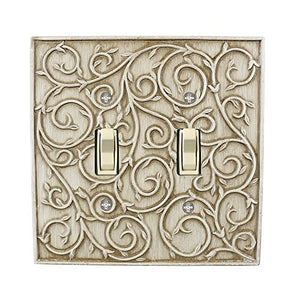 Meriville French Scroll 2 Toggle Wallplate, Double Switch Electrical Cover Plate, Weathered White