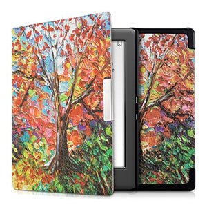 kwmobile Case Compatible with Kobo Glo HD/Touch 2.0 - Book Style PU Leather e-Reader Cover - Autumn Tree Multicolor/Orange/Red