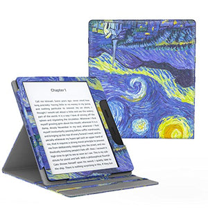 MoKo Case Fits All-New Kindle Oasis (9th and 10th Generation ONLY, 2017 and 2019 Release), Multi Angle Viewing Vertical Flip Cover with Auto Wake/Sleep - Starry Night
