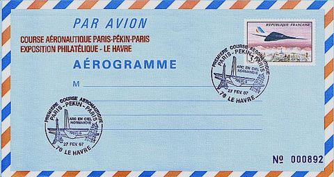 L2684 Aérogramme - Course aéronautique Paris-Pékin-Paris -