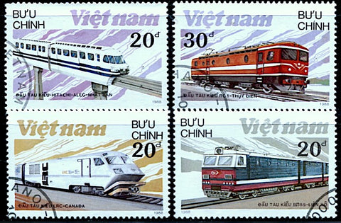 Viet-Nam-1988-2obl trains locomotives