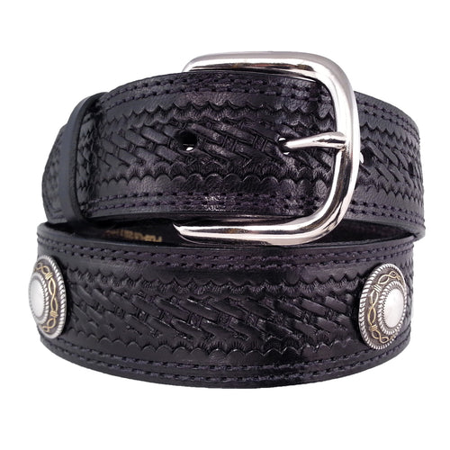 Basket Weave Embossed Concho Belt 625C