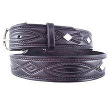 Load image into Gallery viewer, Rope Embossed Leather Concho Belt 670C