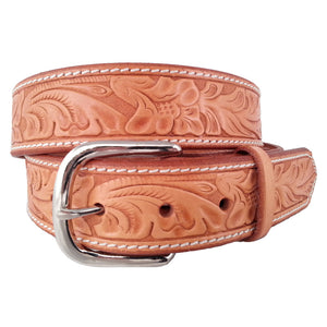 Leaf Pattern Embossed Leather Belt 655