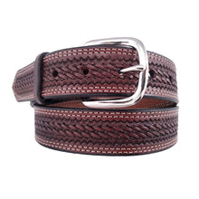 Load image into Gallery viewer, Basket Weave Embossed Leather Belt 625