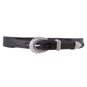 Tapered Leather Belt with Turquoise 610T