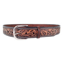 Load image into Gallery viewer, Leaf Pattern Embossed Leather Belt 655