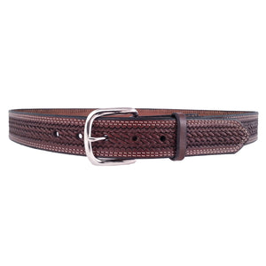Basket Weave Embossed Leather Belt 625