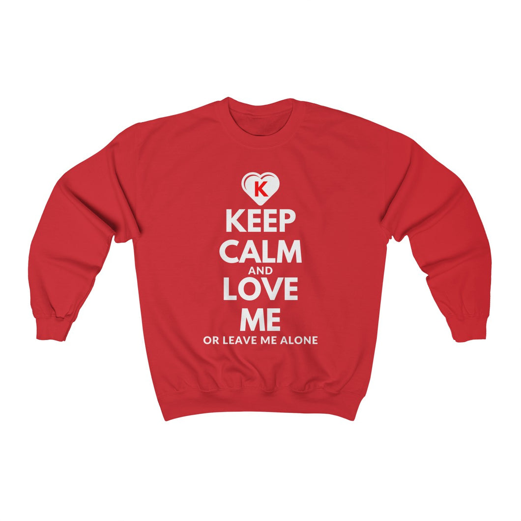 KEEP CALM and LOVE ME K-Heart Red Unisex Heavy Blend™ Crewneck Sweatshirt