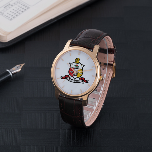 Kappa Alpha Psi Coat of Arms Watch brown leather band