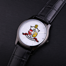 Load image into Gallery viewer, Kappa Alpha Psi Coat of Arms Watch black leather band
