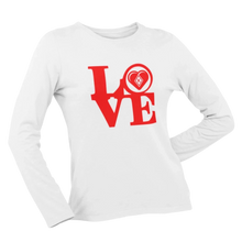 Load image into Gallery viewer, Kap Apparel LOVE Women's Long Sleeve Shirt white
