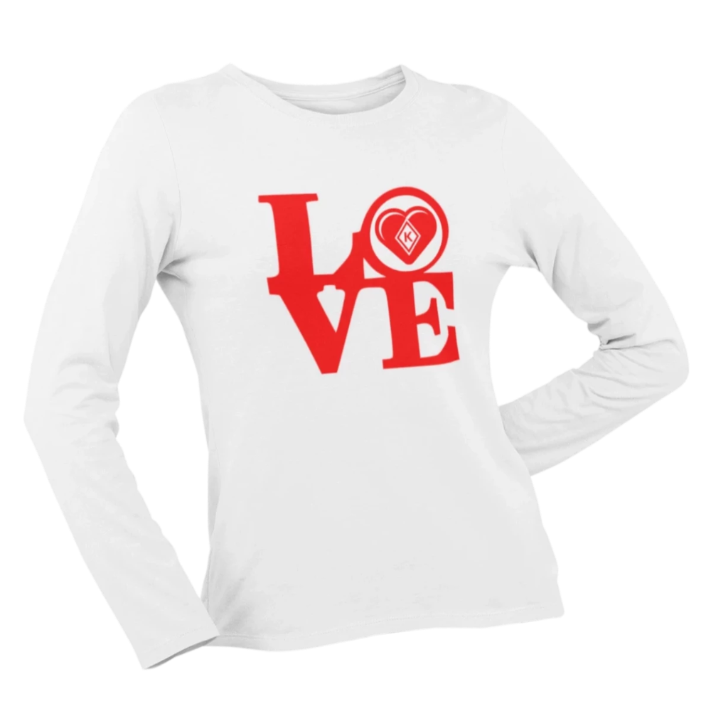 Kap Apparel LOVE Women's Long Sleeve Shirt white