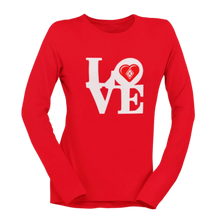 Load image into Gallery viewer, Kap Apparel LOVE Women's Long Sleeve Shirt red