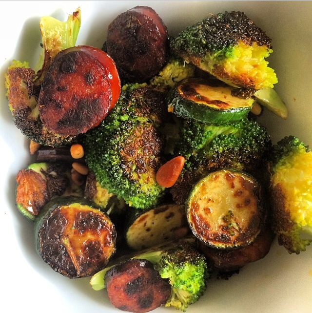 Broccoli and Chorizo Salad with Pine Nuts and Zucchini