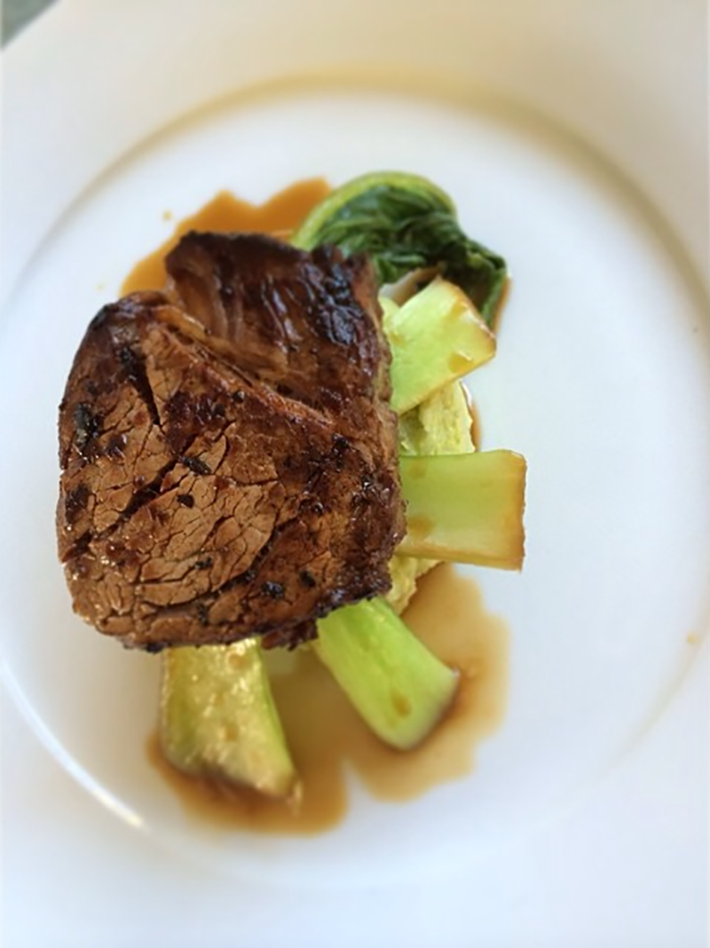 Eye Fillet on Cauliflower and Avocado Mash with Steamed Bok Choy