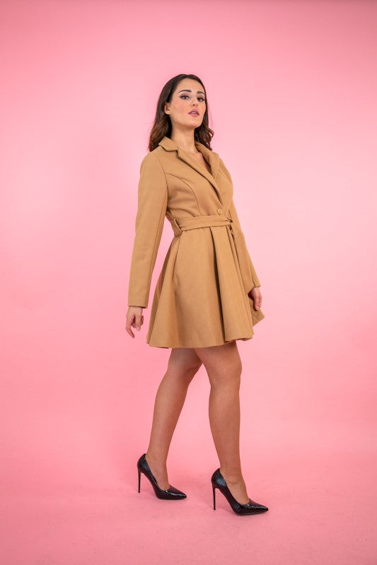Kaalido Damen Winterjacke Wintermantel in Camel