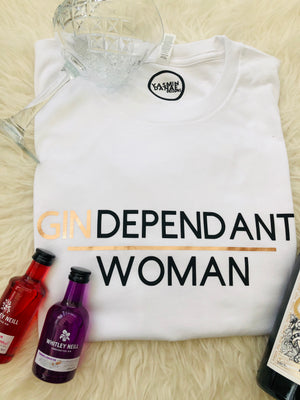 GINDEPENDANT WOMAN SLOGAN TEE IN WHITE